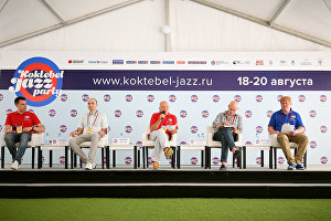 A news conference with Koktebel Jazz Party International Music Festival participants.