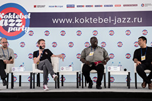 From left: Jess Davis Quartet musicians Paul Kirby, Martin Zenker, Jess Davis and Minchan Kim are at a news conference of the Koktebel Jazz Party participants.