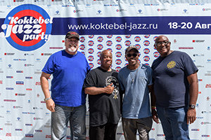 From left: Musicians Edward Rubio, Joseph Lastie, Merwin Campbell and Mitchell Player at the news conference given by the Joe Lastie's New Orleans Sound band at the Koktebel Jazz Party 2017 international music festival.