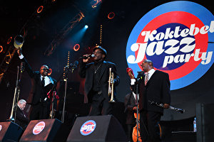 Musicians of Joe Lastie's New Orleans Sound perform live at the Koktebel Jazz Party 2017 festival.