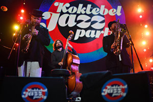 Musicians of the Brill Family band at the Koktebel Jazz Party 2017 festival.