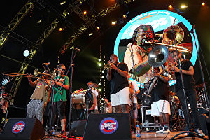 A US jazz band (New Orleans jazz/funk) performs at the 16th Koktebel Jazz Party international music festival