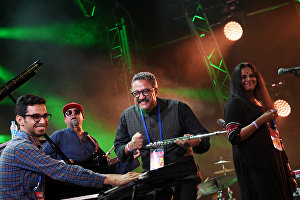 Rajeev raja combine (India) band members perform live at the 16th Koktebel Jazz Party international music festival
