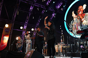 Incognito band members perform live at the 16th Koktebel Jazz Party international music festival