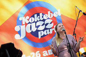 New Folk Trio vocalist Evgenia Savinkina at the 16th Koktebel Jazz Party international music festival