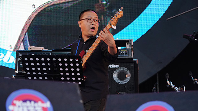 Member of Sedar Band performs live at the 16th Koktebel Jazz Party international music festival