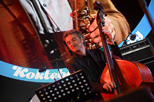 Member of Yakov Okun's International Jazz Band Stefano Senni performs live at the 16th Koktebel Jazz Party international music festival
