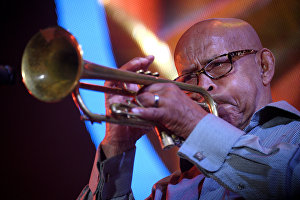 Member of Yakov Okun's International Jazz Band Eddie Henderson (US) performs live at the 16th Koktebel Jazz Party international music festival