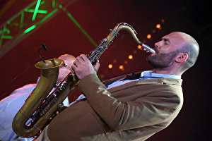 Saxophonist Sergei Golovnya performs live at the 16th Koktebel Jazz Party international music festival
