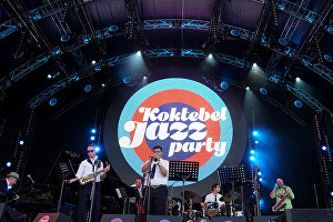 Members of the band lead by Vahagn Hayrapetyan (Armenia) perform at the 16th Koktebel Jazz Party international music festival