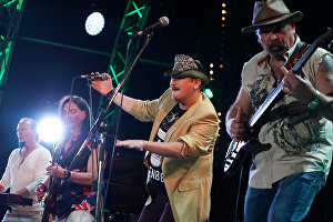 The band Chet Men perform at the 16th Koktebel Jazz Party international music festival