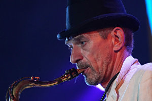 A member of the band Chet Men performs at the 16th Koktebel Jazz Party international music festival