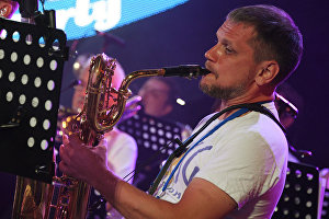 A musician performs during the All Stars KJP Jam with the participation of the big band lead by Sergei Golovin, at the 16th Koktebel Jazz Party international music festival