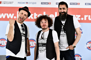 From left: Billy's Band members Billy Novik, Andrei Reznikov and Mikhail Zhidkikh at the news conference at the Koktebel Jazz Party festival