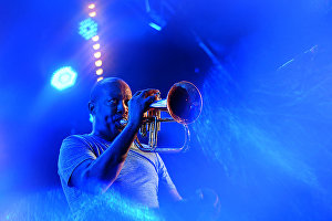 Trumpeter Ted Wilson (USA) performing at the Koktebel Jazz Party