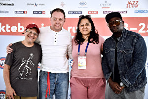 From left: Musicians Gary Smulyan, Yakov Okun, Alemay Fernandes and Rodney Green at the news conference as part of the 17th Koktebel Jazz Party international music festival