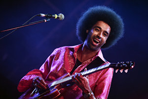 Musician Selwyn Birchwood plays at the 17th Koktebel Jazz Party international music festival